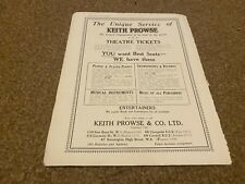 """(PLPS21) ADVERT 11X8"""" THE UNIQUE SERVICE OF KEITH PROWSE THEATRE TICKETS & MUSIC"""