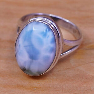Vinatage Sterling Silver Larimar Ring Sz 8.5