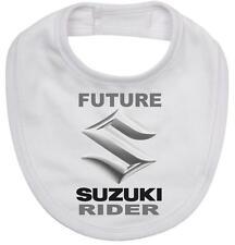 BABY BIB white cotton printed with FUTURE SUZUKI RIDER on  Baby Bib