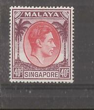 SINGAPORE 1948 40c red and purple (perf 18)  mh
