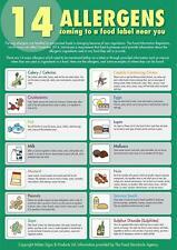 More details for 14 food allergens sign poster laminated x 2 safer food better business sfbb
