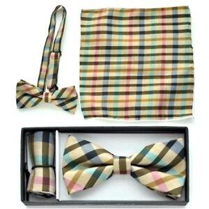 New Pre Tied Bow Tie Brown Tan Green Pink Hankie Handkerchief Plaid Checkers
