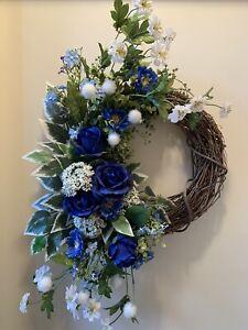Flower Door Wreath, Flower Decor, Blue Decor, Home Decor, S Shape Wreath
