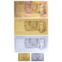 WR Australian 5 Dollar Note Colour Gold Silver Old Five Dollar Banknote Set +COA
