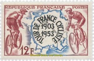 """EBS France 1953 - 50 Years """"Tour de France"""" Bicycle Race - YT 955 MNH**"""
