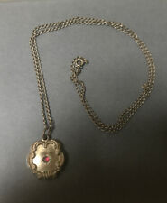 Vintage Antique Gold Filled? Etched Unmarked Pendant Chain Necklace Rhinestone