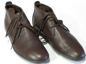 Ermenegildo Zegna Ferragamo Ankle Boots 7EE Brown Pebble Calfskin Rubber Soles