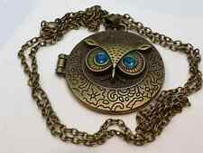 Vintage Style Owl Pendant Locket Necklace Very Detailed Bronze Color Metal