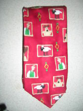 MENS NOVELTY MARKS & SPENCERS RED WALLACE, GROMIT & SHAUN POLYESTER TIE USED