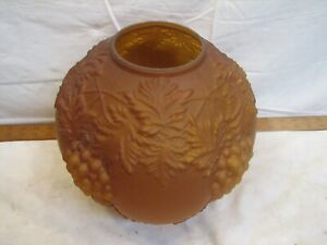 Gone With The Wind Glass Globe Lamp Shade Amber Satin Embossed Grapes GWTW