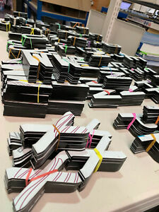 4D LASER CUT LETTERS NUMBER PLATES/SIGNS adhesive 3mm BLACK x350 piece BULK PACK