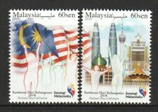 MALAYSIA 2018 NATIONAL DAY CELEBRATION (FLAG & TWIN TOWERS) COMP. SET OF 2 STAMP