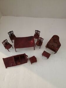 VTG 1950s PLASCO TOY Plastic Dollhouse Furniture Mixed Lot /Dining Room Piano