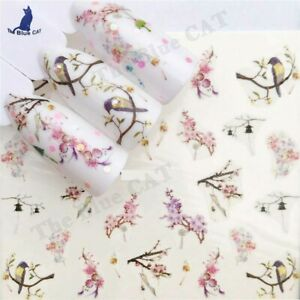 Nail Art Water Decals Stickers Transfers Spring Flowers Cherry Blossom and Birds