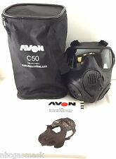 Avon C50 CBRN Gas Mask - 40mm NATO Twin Port APR Respirator - Large COMMS MKII