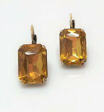 Topaz Glass Crystal Antique Brass Earrings Georgian Paste Women Gift Boxed