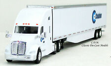 Kenworth T680 White Sleeper Cab CELADON w/53' White Trailer 1/87 HO TNS029