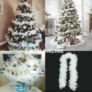 2M Christmas Tree White Feather Boa Strip Xmas Ribbon Party Garland Decor UK