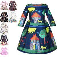Girls Dress House Tree Print Cartoon Long Sleeve Winter Dress Age 4-14 Years