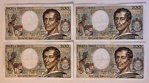 4 Billets France 200 Francs Montesquieu 1984 TTB