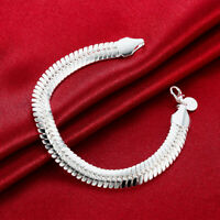 925 solid Silver fashion 10MM Snake women men chain wedding bracelet Jewelry