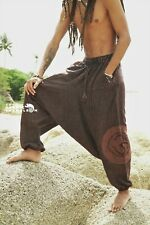 Stonewash Harem Pants Mens Brown Hippie Distressed Yoga Festival Om Ohm Festival