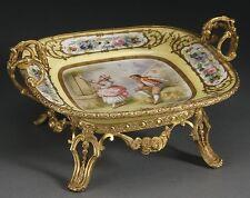 Rare Important Lrge 19Th Century Sevres Yellow Porcelain Bronze Centerpiece Bowl