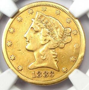 1883-CC Liberty Gold Half Eagle $5 Coin - NGC VF Details - Rare Carson City!