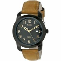 Timex T2P133, Men's Easy Reader Brown Leather Watch, Date, Indiglo