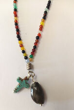 Fine Mixed Agate Stone Bead Necklace With Cross and Labrodite Stone pendant