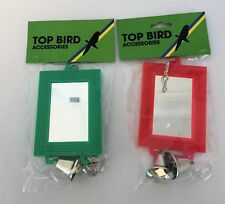 2 x Plastic Bird Toy - Double Sided Rectangle Mirror & Metal Bell