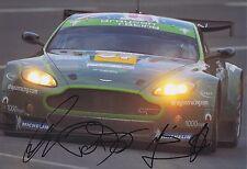 Drayson, Cocker, Franchitti mano firmado 12x8 Foto Aston Martin Le Mans.