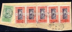 France Cols DAHOMEY Stamps 15c{5} & 5c Porto Novo CDS 1918 Used Piece SS4498