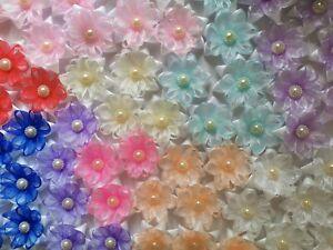 Small Ribbon Flowers Satin /Organza size 4cm Applique Decoration DIY Sewwing