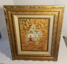 Vintage Mary Angela Oil on Board Abstract Woman Playing Piano Impressionist Art