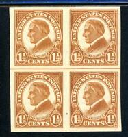 USAstamps Unused VF US Harding Imperforate Block Scott 576 OG MNH