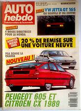 AUTO HEBDO du 29/4/1987; Essai VW Jetta GT 16S/ Peugeot 605 Et CX 1989