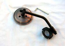 "Antique Copper 3 Inch Mirror wih Black Stem & Clamp for 1"" & 7/8"" Bars; Custom"