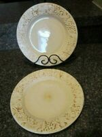 HARRY & DAVID CHINA EMBOSSED GRAPES LEAVES SALAD PLATES CREAM COLOR SET OF 2