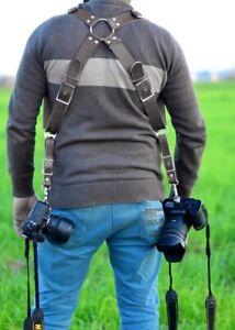 Genuine Premium Black Buffalo Leather Dual Multi Camera Harness Shoulder Strap