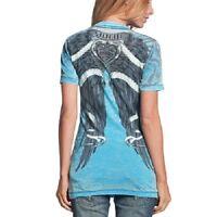 Sinful AFFLICTION Women T-Shirt MONTERREY Wings RHINESTONES Tattoo Biker $58