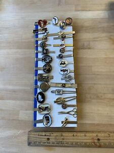 30 Figural Themed Tie Bar Clip Lot Mens Jewelry Accessories Estate Vintage