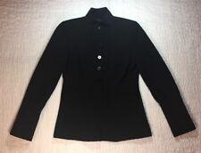 DKNY Blazer SZ 4 Black Wool Stretch Short Jacket Pleated