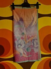 Vintage Retro Pinup Head Scarf Pink and Peach Flower Design Feathers