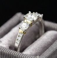 2Ct Round Cut Brilliant Moissanite 3 Stone Engagement Ring Solid 14K White Gold