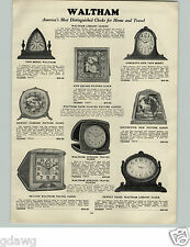 1928 PAPER AD Waltham Clock Square Picture Clocks Easel Travel Alarm