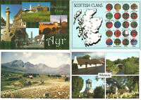 4 Scotland Postcards incl Scottish Clans, Torrin Isle Of Skye, Ayr, Alloway P749