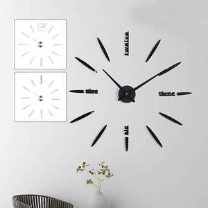 3D DIY Large Roman Numerals Luxury Mirror Wall Clock Sticker Home Office Decor