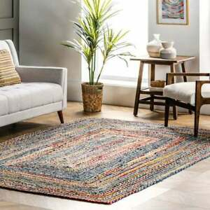 Hand Braided Bohemian Colorful Cotton Chindi Area Rug multi color Home Decor Rug