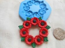 Sugarcraft/Fimo MOULD: Floral Flower POPPY GARLAND WREATH (58mm) Chocolate Resin